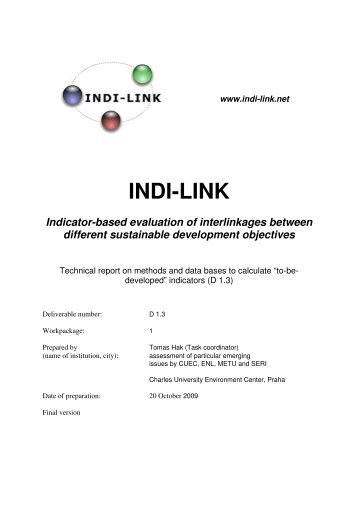 INDI-LINK Indicator-based evaluation of interlinkages ... - SERI