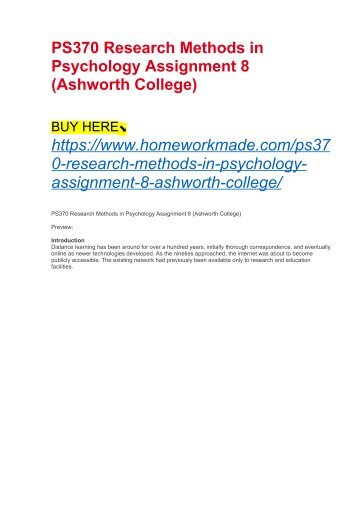 PS370 Research Methods in Psychology Assignment 8 (Ashworth College)