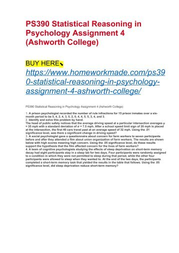 PS390 Statistical Reasoning in Psychology Assignment 4 (Ashworth College)