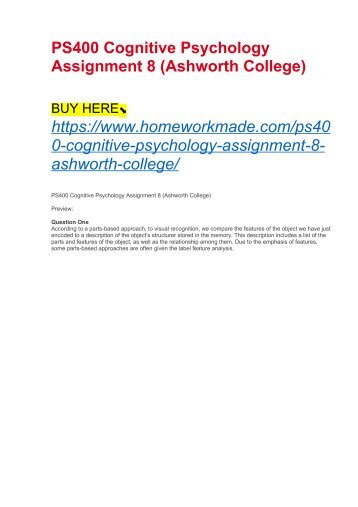 PS400 Cognitive Psychology Assignment 8 (Ashworth College)