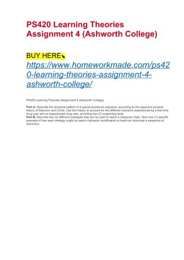 PS420 Learning Theories Assignment 4 (Ashworth College)