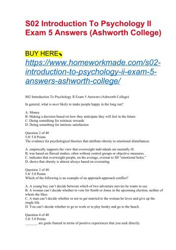 S02 Introduction To Psychology II Exam 5 Answers (Ashworth College)