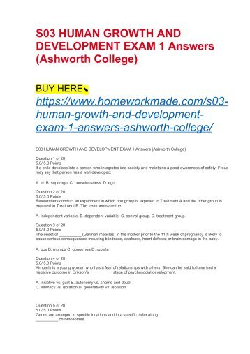 S03 HUMAN GROWTH AND DEVELOPMENT EXAM 1 Answers (Ashworth College)