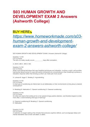 S03 HUMAN GROWTH AND DEVELOPMENT EXAM 2 Answers (Ashworth College)