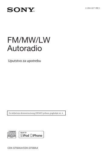 Sony CDX-GT560UI - CDX-GT560UI Mode d'emploi Serbe