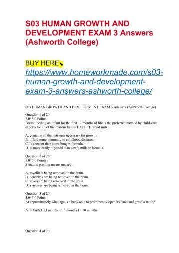 S03 HUMAN GROWTH AND DEVELOPMENT EXAM 3 Answers (Ashworth College)