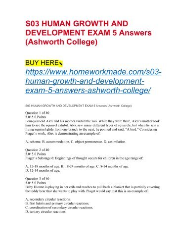 S03 HUMAN GROWTH AND DEVELOPMENT EXAM 5 Answers (Ashworth College)