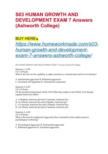 S03 HUMAN GROWTH AND DEVELOPMENT EXAM 7 Answers (Ashworth College)