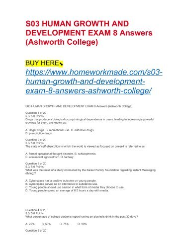 S03 HUMAN GROWTH AND DEVELOPMENT EXAM 8 Answers (Ashworth College)