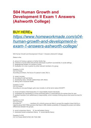 S04 Human Growth and Development II Exam 1 Answers (Ashworth College)