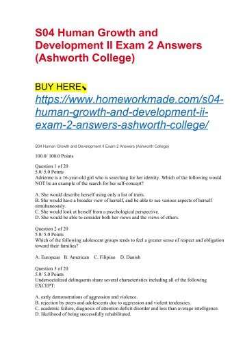 S04 Human Growth and Development II Exam 2 Answers (Ashworth College)