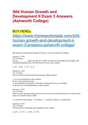S04 Human Growth and Development II Exam 3 Answers (Ashworth College)