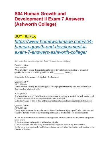 S04 Human Growth and Development II Exam 7 Answers (Ashworth College)