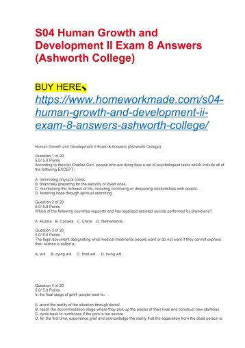 S04 Human Growth and Development II Exam 8 Answers (Ashworth College)