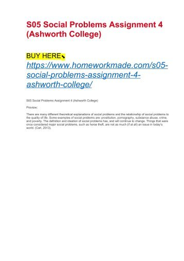 S05 Social Problems Assignment 4 (Ashworth College)