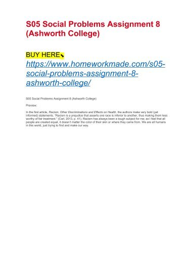 S05 Social Problems Assignment 8 (Ashworth College)