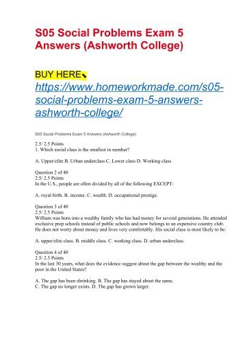 S05 Social Problems Exam 5 Answers (Ashworth College)
