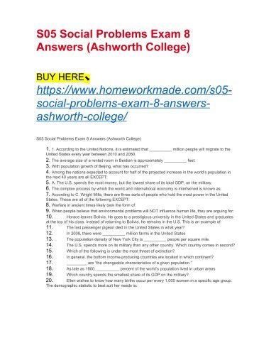 S05 Social Problems Exam 8 Answers (Ashworth College)