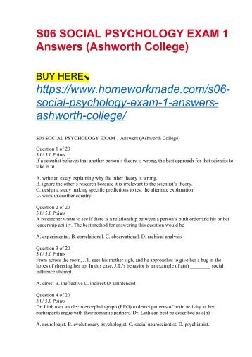 S06 SOCIAL PSYCHOLOGY EXAM 1 Answers (Ashworth College)