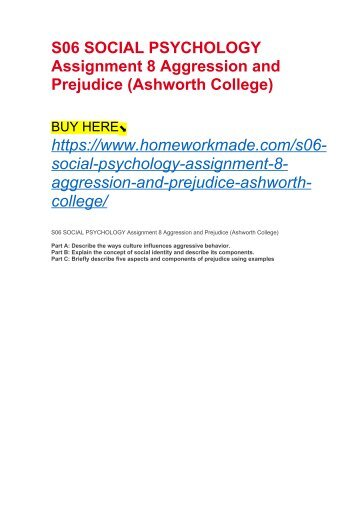 S06 SOCIAL PSYCHOLOGY Assignment 8 Aggression and Prejudice (Ashworth College)