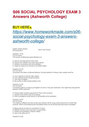 S06 SOCIAL PSYCHOLOGY EXAM 3 Answers (Ashworth College)