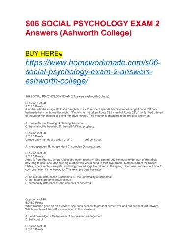S06 SOCIAL PSYCHOLOGY EXAM 2 Answers (Ashworth College)
