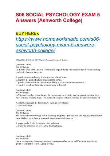 S06 SOCIAL PSYCHOLOGY EXAM 5 Answers (Ashworth College)