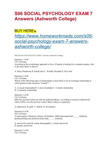 S06 SOCIAL PSYCHOLOGY EXAM 7 Answers (Ashworth College)