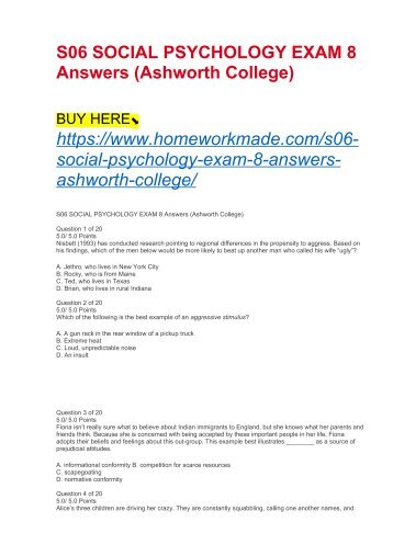 S06 SOCIAL PSYCHOLOGY EXAM 8 Answers (Ashworth College)