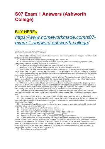 S07 Exam 1 Answers (Ashworth College)