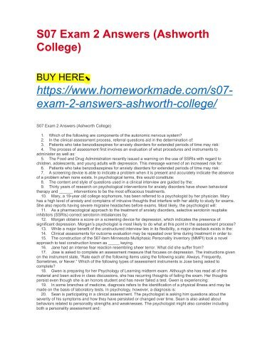 S07 Exam 2 Answers (Ashworth College)