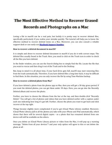 Method to Recover Erased Records and Photographs on a Mac