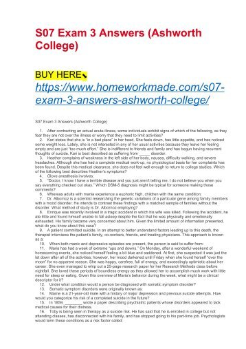 S07 Exam 3 Answers (Ashworth College)