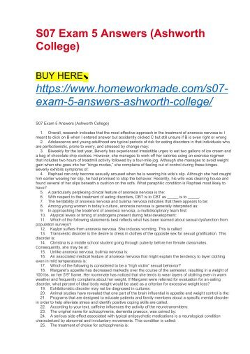S07 Exam 5 Answers (Ashworth College)