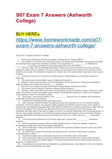 S07 Exam 7 Answers (Ashworth College)