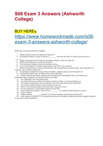 S08 Exam 3 Answers (Ashworth College)