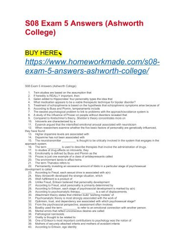 S08 Exam 5 Answers (Ashworth College)