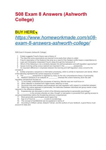 S08 Exam 8 Answers (Ashworth College)