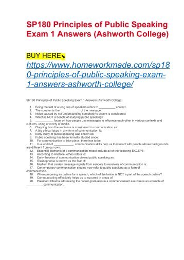 SP180 Principles of Public Speaking Exam 1 Answers (Ashworth College)