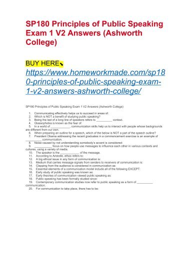 SP180 Principles of Public Speaking Exam 1 V2 Answers (Ashworth College)