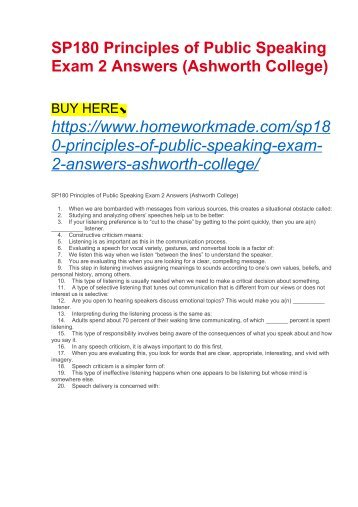 SP180 Principles of Public Speaking Exam 2 Answers (Ashworth College)
