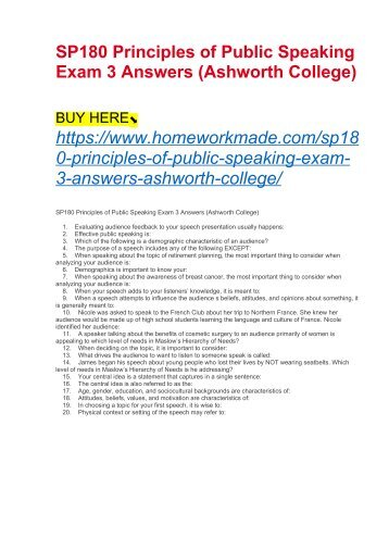 SP180 Principles of Public Speaking Exam 3 Answers (Ashworth College)