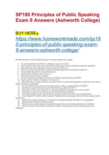 SP180 Principles of Public Speaking Exam 8 Answers (Ashworth College)