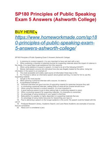 SP180 Principles of Public Speaking Exam 5 Answers (Ashworth College)
