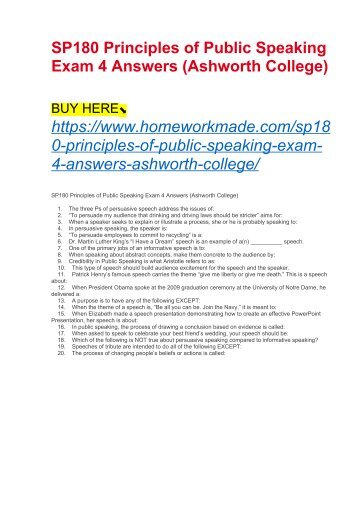SP180 Principles of Public Speaking Exam 4 Answers (Ashworth College)