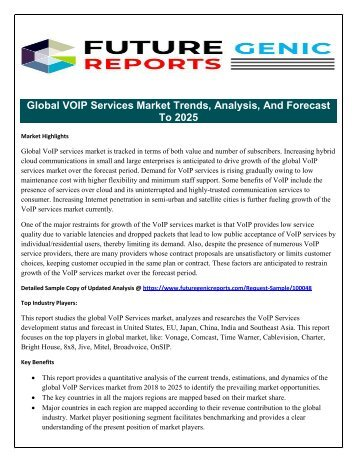 VOIP Services Market Anticipated Driving Growth by Increasing Hybrid Cloud Communications in Small and Large Enterprises