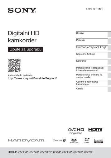 Sony HDR-PJ650E - HDR-PJ650E Mode d'emploi Croate