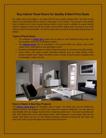 Buy Interior Panel Doors for Quality