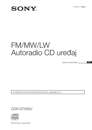Sony CDX-GT450U - CDX-GT450U Consignes d'utilisation Croate
