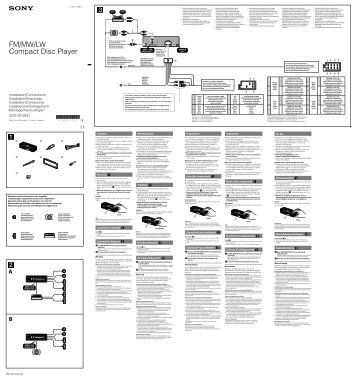 Sony CDX-GT450U - CDX-GT450U Guide d'installation Français